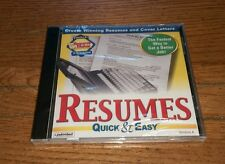 Resumes Quick & Easy Version 4 Individual Resume Maker Cover Letters PC Software