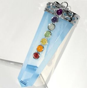 HIGH ENERGY Opalite Crystal 7 Chakra Stone Pendant Silver Opal Necklace CHARGED