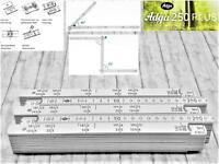 5x Adga Zollstock Holz weiss 2m Winkelübersicht Maurerschichtmaß 90° Rastung