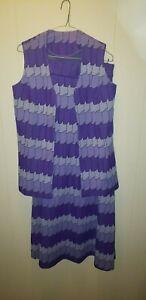Vintage OOAK Handmade Purple Vest & Full Length Skirt Matching Set Mod 1960s
