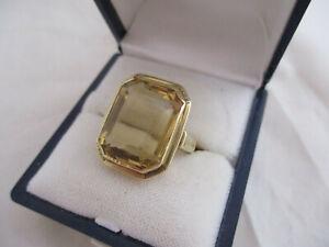Damen Goldring, 585er Gold, 14 ct., 10,04 gr., mit riesigem Goldtopas, 80er Jahr