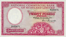 Scotland National Commercial Bank P-267 20 pounds 1959 pressed XF