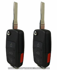2 New Replacement Flip Key Remote Keyless Entry Transmitter Uncut Blade For VW H