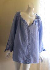 NEW Talbots -Sz 2X Breezy Blue Chambray Linen Round Neck Blouse Shirt Top
