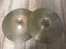 "Paiste 505 14"" Hi Hat Cymbals Green Label Vintage Rare Good Condition"