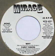 "CARLY SIMON Why MIRAGE 45 promo modern soul boogie NM 7"" HEAR"