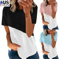 Women's Casual Long Sleeve Colorblock T-Shirt Blouse Loose Tunic Summer Tops Tee