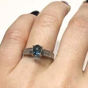 1.3 ctw Natural Blue Cabochon Topaz & Diamond Solid 14k White Gold Cocktail Ring