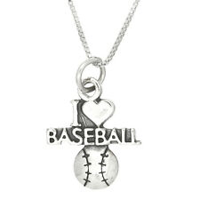 Sterling Silver I Love Baseball Charm With 18 Inch Box Chain Necklace