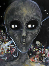 'Alien Invasion' Limited Signed Print 12x16 -original space painting monster art