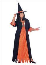 New Black Orange Fancy Dress Costume Gothic Witch Plus Size UK 16-22 P7222