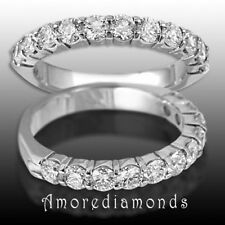 1.65 Ct F Vs2 Natural Half Way Diamond Womens Wedding Ring 18K White Gold Size 4