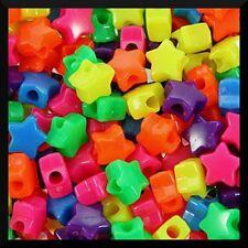 "50 Neon Star Pony Beads 1/2"" 13mm Kids Girls ABCraft USA Made"