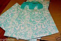 8x5x10  LOT 10 Frosted AQUA BLUE Plastic Bags Damask Merchandise Gift BAG 8 5 10