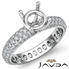 Pave Diamond Eternity Style Wedding Ring Round Semi Mount 14k White Gold 1.5Ct