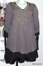 Ester Elenora Tunika Bluse Stina, grau - Tunic Blouse 10149 one size 36 38 40