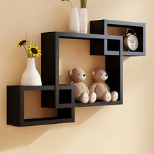 Black Intersecting 3 Rect Boxe Floating Shelf Wall Mounted Home Decor NEW
