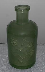 "Hydrangea Reverse Image Green Apothecary Shaped Flower Vase Jar Heavy Plastic 8"""