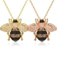 18K Gold Finished 1.38 Carat CZ Bee Brooch Pendant & Necklace Gold or Rose Gold