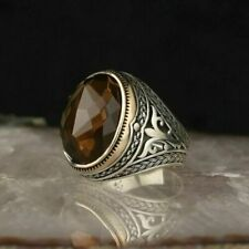 Handmade Turkish 925 Sterling Silver Jewelry Smoky Quartz Men's Ring All Size#TR