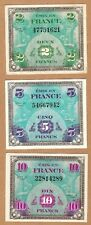 1944 France MPC 2 - 5 - 10 Francs - LOT of 3  - WWll - CRISP .