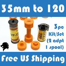 35mm to 120 / 220 Medium Format Camera Film Spool Adapter Set / Kit (3pcs)