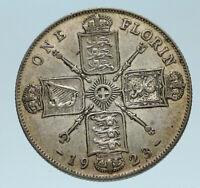 1923 GREAT BRITAIN UK United Kingdom King George V Big SILVER FLORIN Coin i83265