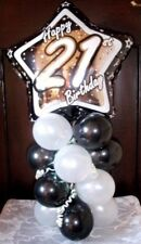 "Age 18 18th Birthday 18"" Foil Balloon Table Display Decoration Air Fill Round RS"