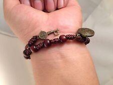 Saint Benedict Wood Beads & Cord ROSARY Bracelet with key to heaven pendant