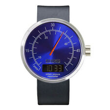 "666Barcelona ""Under Pressure II Blue"" Quartz Steel Digital Leather Men's Watch"