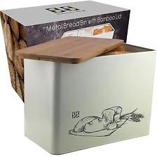 Bread Bin with Cutting Board Lid Eco Bamboo Large Vertical Bread Box
