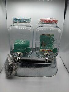 The Pioneer Woman Drink Dispenser Set 2 Glass Jugs picnic Ice Bucket NEW