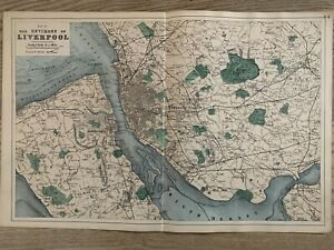 1884 Environs of Liverpool Antique Hand Coloured Map by Edward Weller