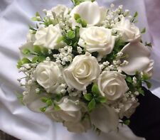 Wedding Flowers Posy Bouquet IVORY   Lillies,Roses,Gyp And Foliage