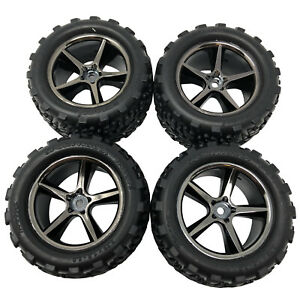 4 x Traxxas Tyres & Wheels Assembled 1/16 E-Revo VXL 7174A New Genuine Part