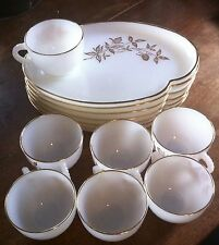 6 Milk White Snack Plates and 7 cups with 22k gold trim