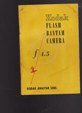 Kodak Flash Bantam Camera F4.5 Anastar Lens Booklet 1948