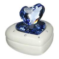 Swarovski Heart Box White Porcelain Sparkling Blue Crystal 5115541