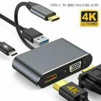 TypeC to PD Charging VGA 4K HDMI USB 3.0 HUB Adapter for Macbook Samsung Switch~