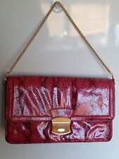 *~* Large Pink Snake skin Kardashian Kollection Clutch Handbag *~*
