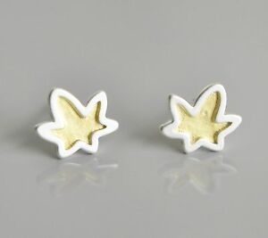 925 Sterling Silver Earrings Studs Golden Maple frosting surface