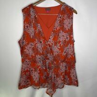 Vince Camuto Womens Modern Rouge Faux-Wrap Floral Blouse Top 2X Sleeveless New