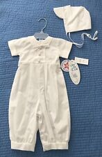 NEW Baby Boys Christening Suit Baptism Outfit Cotton Bowtie & Hat 3-6M Garvin