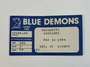 1984 DePaul Blue Demons v Marquette Basketball Ticket Stub NCAA 3/10/84 83-84
