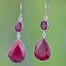 925 Sterling Silver Royal Ruby gemstone earrings jewelry 11.15g CCI