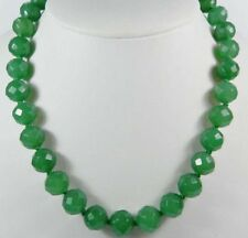20 Inches Long 10mm Green Emerald Faceted Round Beads Necklace JN140