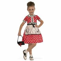 Child Girl's 50's Minnie Betty Boop Diner Girl Red Polka Dot Costume Dress S M L