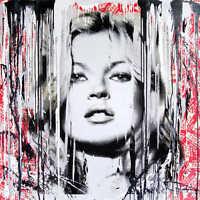 "Mr Brainwash Oil Painting on Canvas Urban art Banksy Kate Moss Models 28x28"""