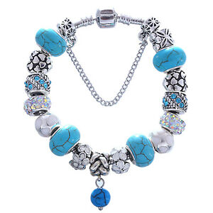 NEW Silver Blue Swirl Murano Rainbow Rhinestone White Flower Charm Bracelet