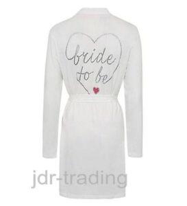 Ladies BRIDE TO BE light Dressing Gown Wrap Robe Hen Wedding George UK 8-22